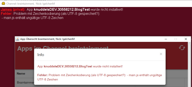Fehlerhafte Kodierung bei einer AppInstallation.