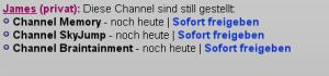 Übersicht der Channel, die euch keine Benachrichtigungen mehr schicken können.
